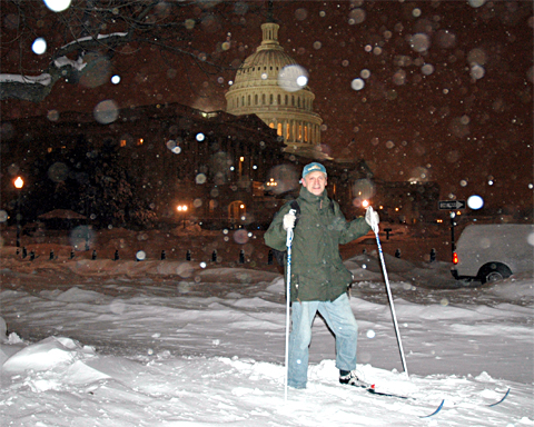 Earl Blumenauer on skis