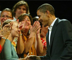 Sen Barack Obama greets supporters in Seattle