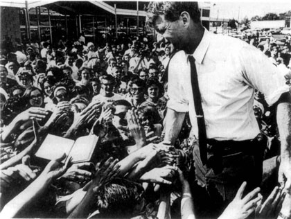 RFK greeted by enthusiastic crowd as he campaigns for Democratic nomination in 1968
