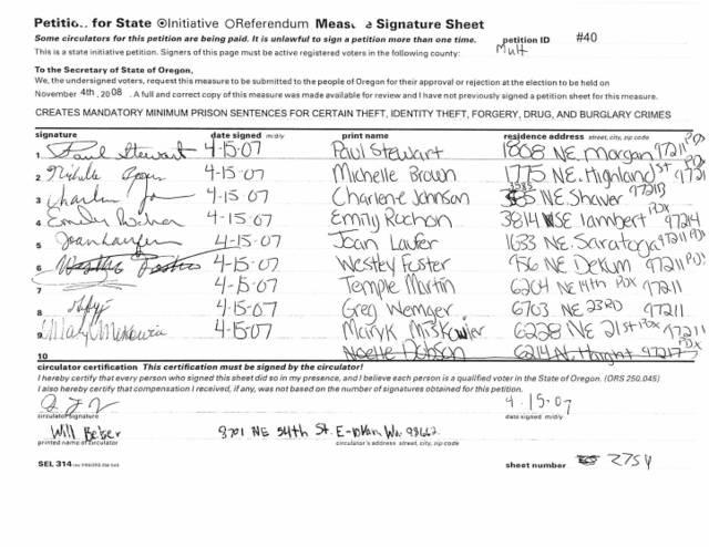 petition signature form