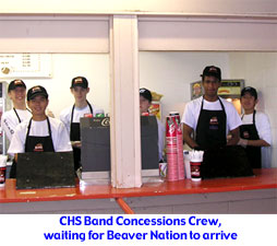 CHS Band Members prepare to work concessions at OSU's Reser Stadium