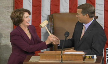 Nancy Pelosi receives the gavel as Speaker of the House